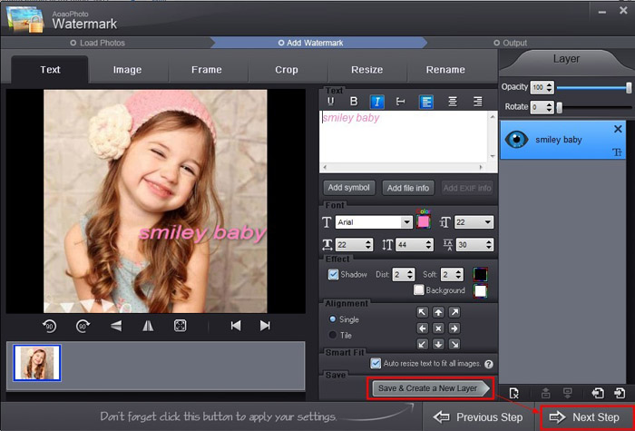 Adding text watermark to photo with Aoao Watermark for Photo