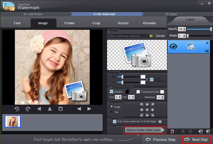 Adding image watermark to photo with Aoao Watermark for Photo